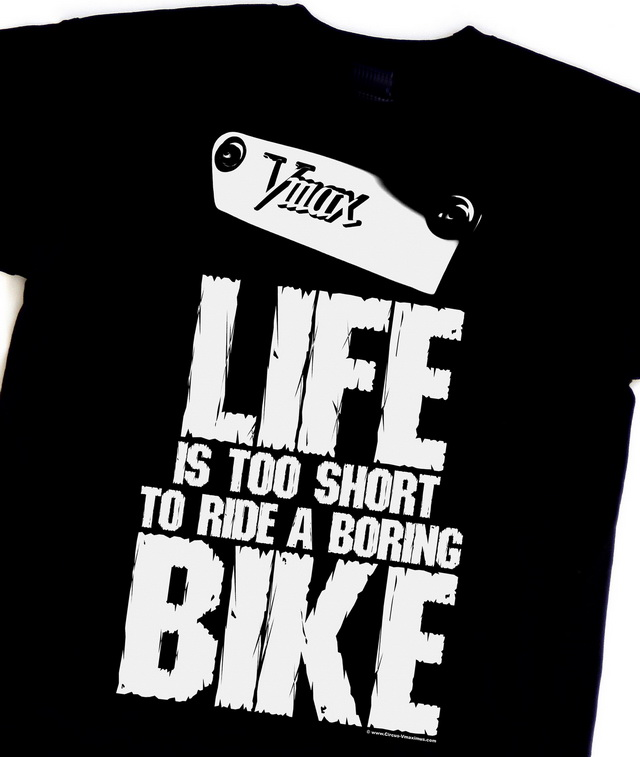"The new ""Vmax - LIFE IS TOO SHORT TO RIDE A BORING BIKE"" t-shirt"
